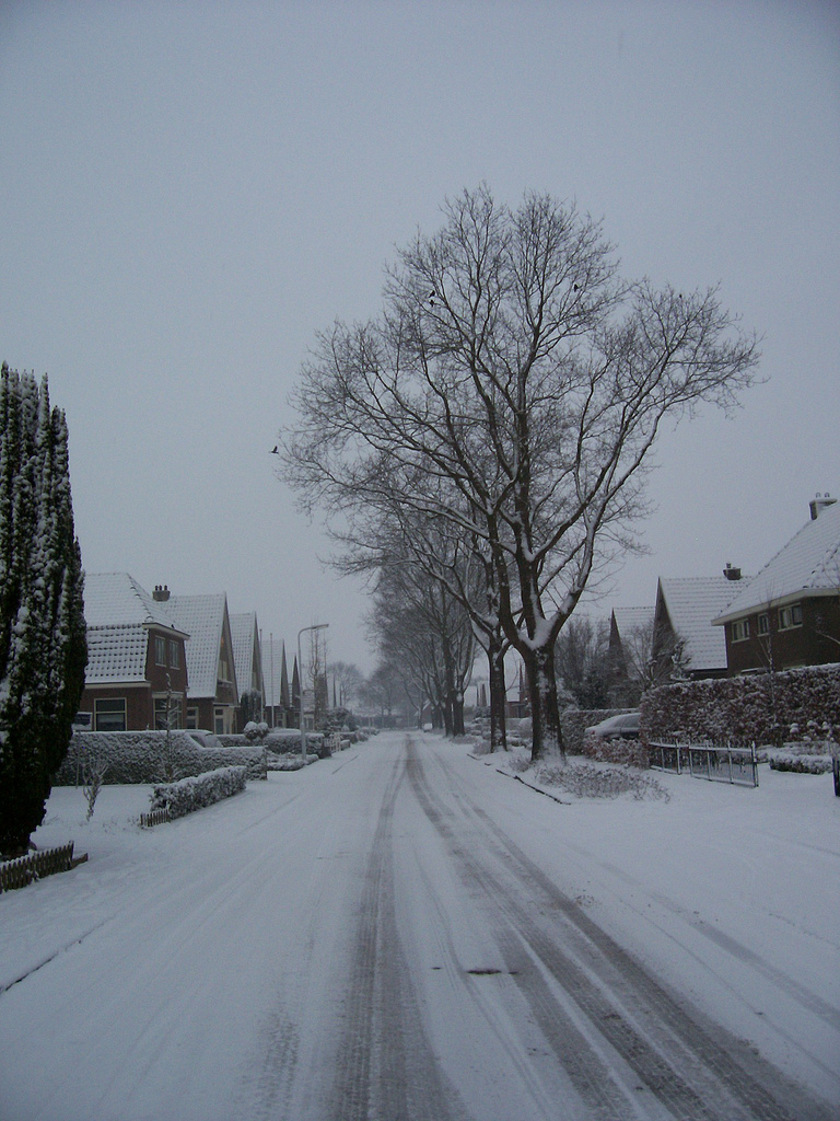 Our street before even more snow and before the municipality came with salt