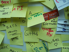 GUADEC 2010 Hate/Love Wall, close-up of top section 'Love'